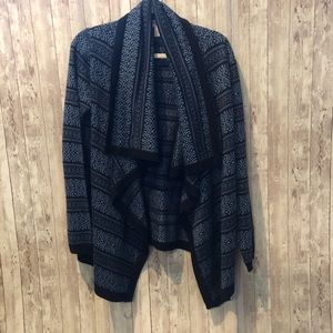 Forever 21 black/blue waterfall front cardigan